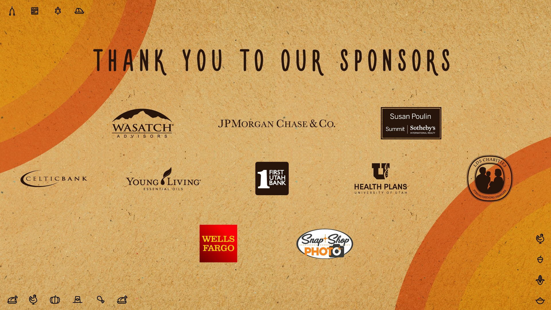 IRC Breaking Bread 2018 Sponsors: Wasatch Advisors, JPMorgan Chase & Co., Susan Poulin of Summit Sotheby's, LDS Charities, Young Living Essential Oils, Celtic Bank, First Utah Bank, Health Plans University of Utah, Wells Fargo and Snap Shop Photo.