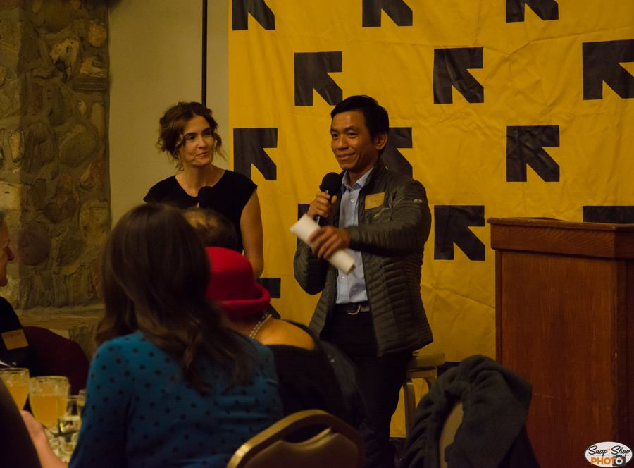 Longtime volunteer and friend of the IRC, Claire Adams, acted as master of ceremonies relating personal stories, facilitating a Q&A with new American entrepreneur Aung Thang, and presenting our Rescue Partner awards.