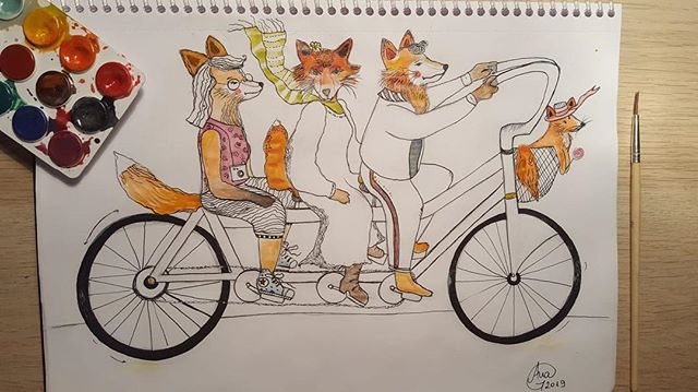 Family ride Grafica: @anncookiekid  #familyride #foxes #foxfamily #bikeride #whatdoesthefoxsay #artistsoninstagram #spring