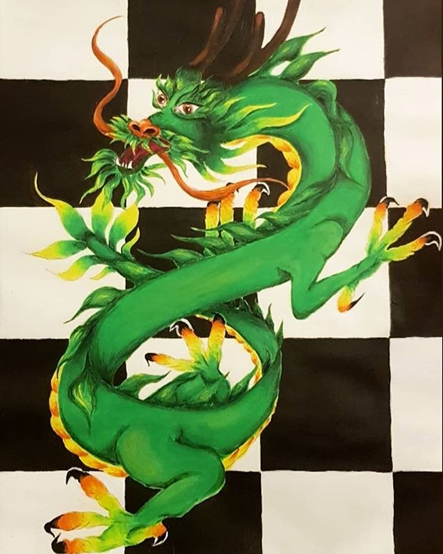 Asian sharpness 🖌️: @annestezic  #asian #dragon #green #artist #art #fire #detail #mithology #black #white #creature #color #teen #romania #bucharest