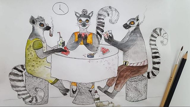 Lemur night Grafica: @anncookiekid  #lemur #lemurian #playingcards #boysnightout #jackpot #eveninggame