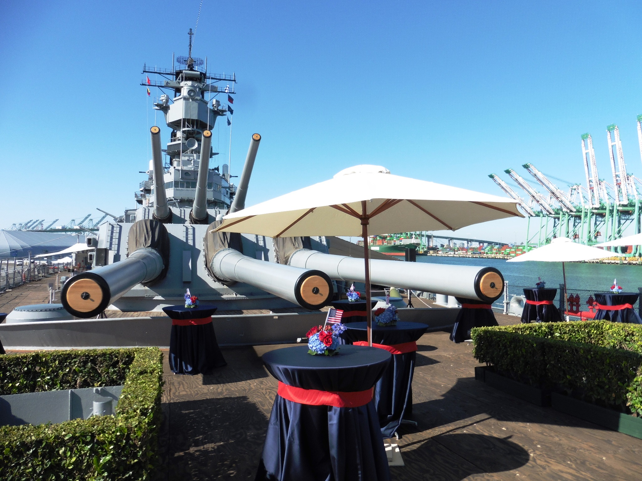 Event set up on the bow of the IOWA.JPG