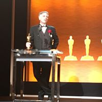 Kim Davidson, Hearts of Steel's executive producer, accepts Oscar at the 2018 Academy Awards Scientific and Technical awards presentation.
