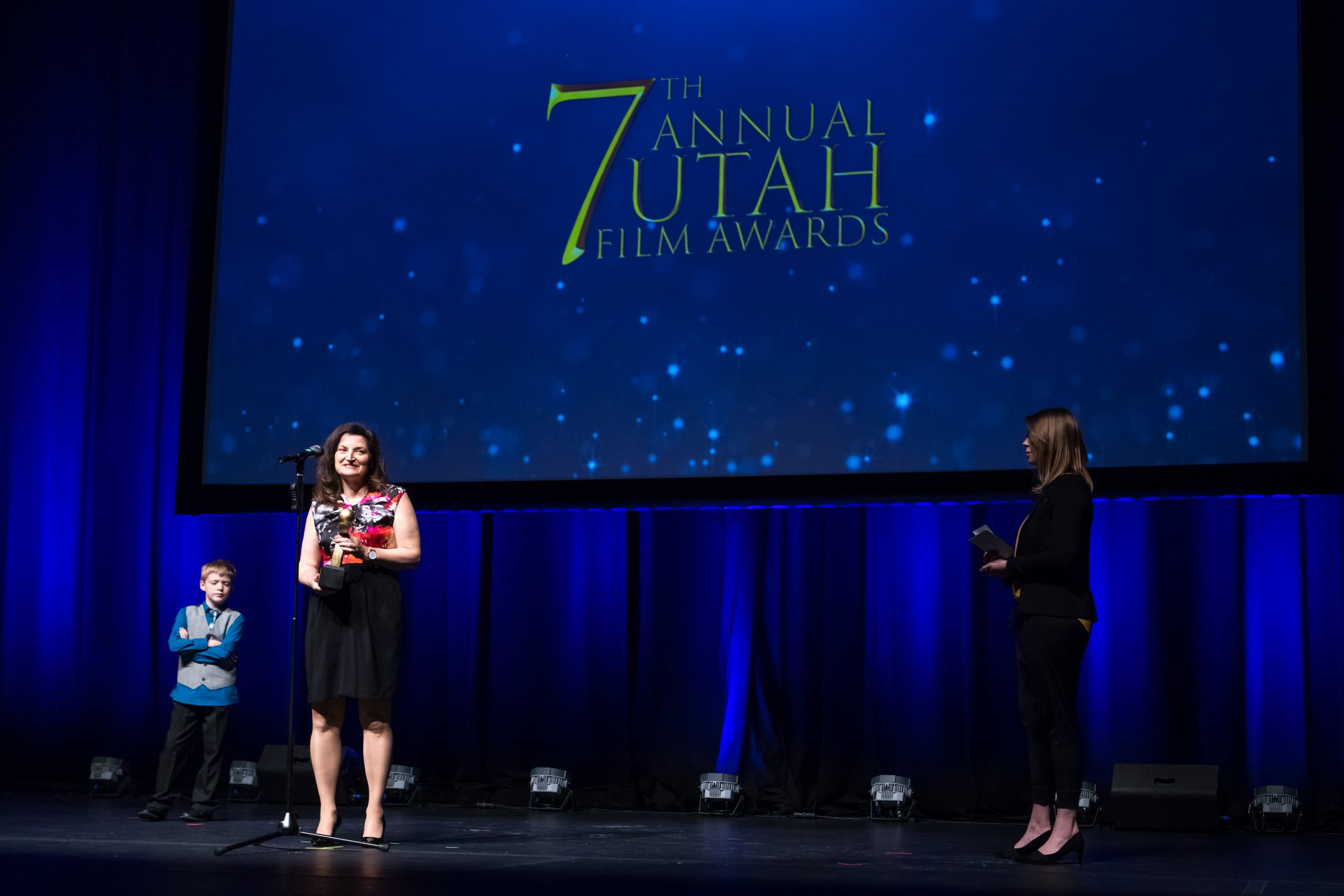 Gayle Wilmot accepts award for Best Short Documentary at the Utah Film Awards