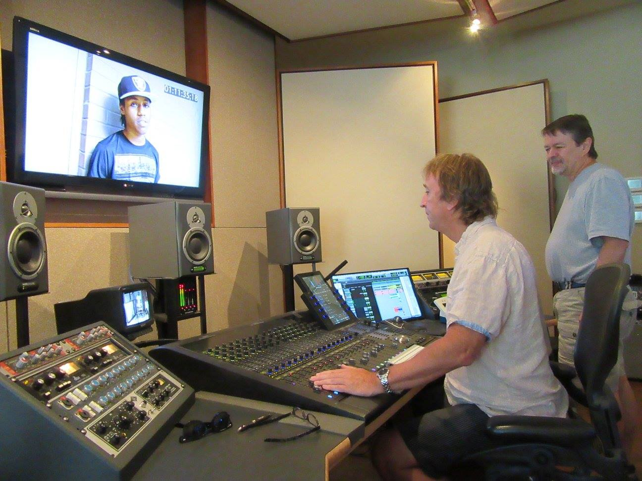 Bruce Fowler and Mike Duncan work on completing the sound mix for Hearts of Steel