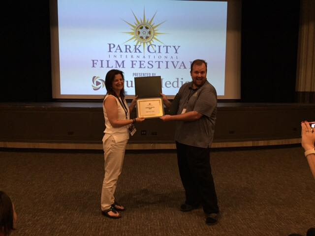 Gayle Wilmot accepts the award for Best Short Documentary at the Park City Film Festival