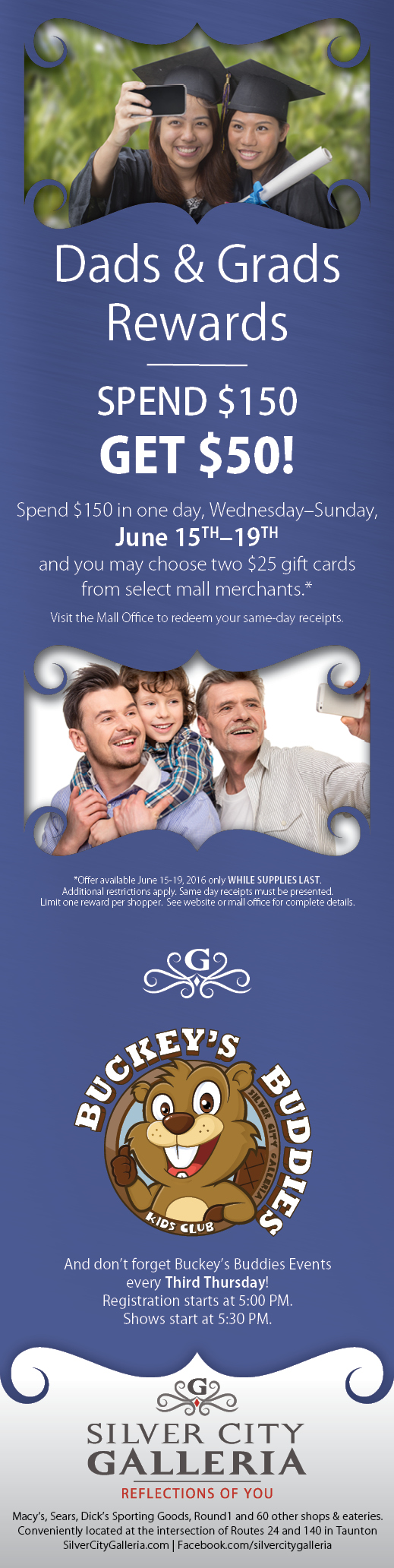 Dads and Grads 1/2 Page Ad Design for Silver City Galleria by Cybergraph®
