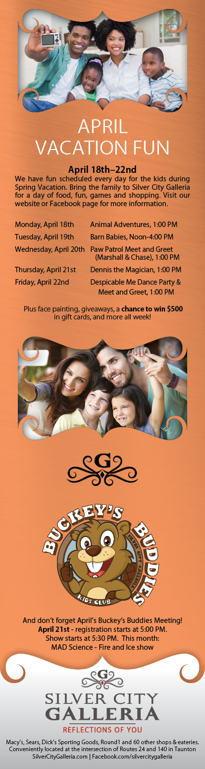 April Vacation 1/2 Page Ad Design for Silver City Galleria by Cybergraph®
