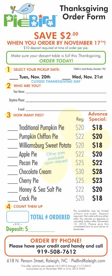 PieBird Thanksgiving Pie Order Form - Design by Cybergraph