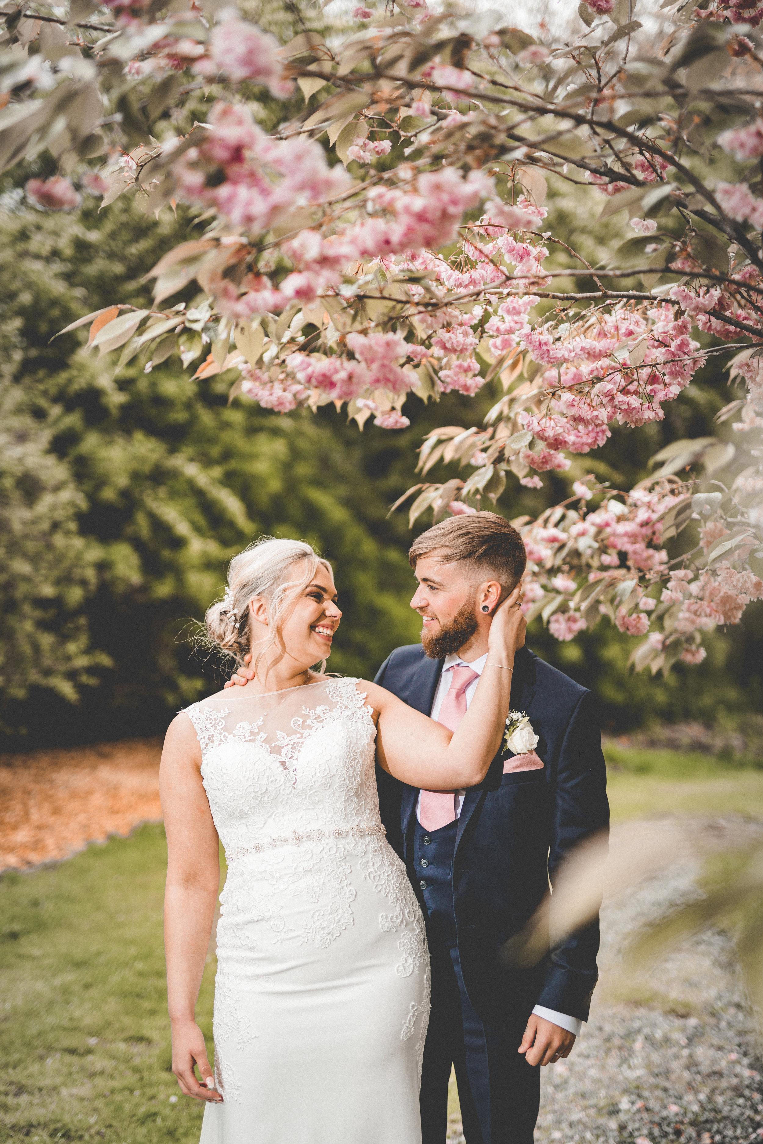 Bride, Groom, Flowers, Yorkshire Wedding Photographer