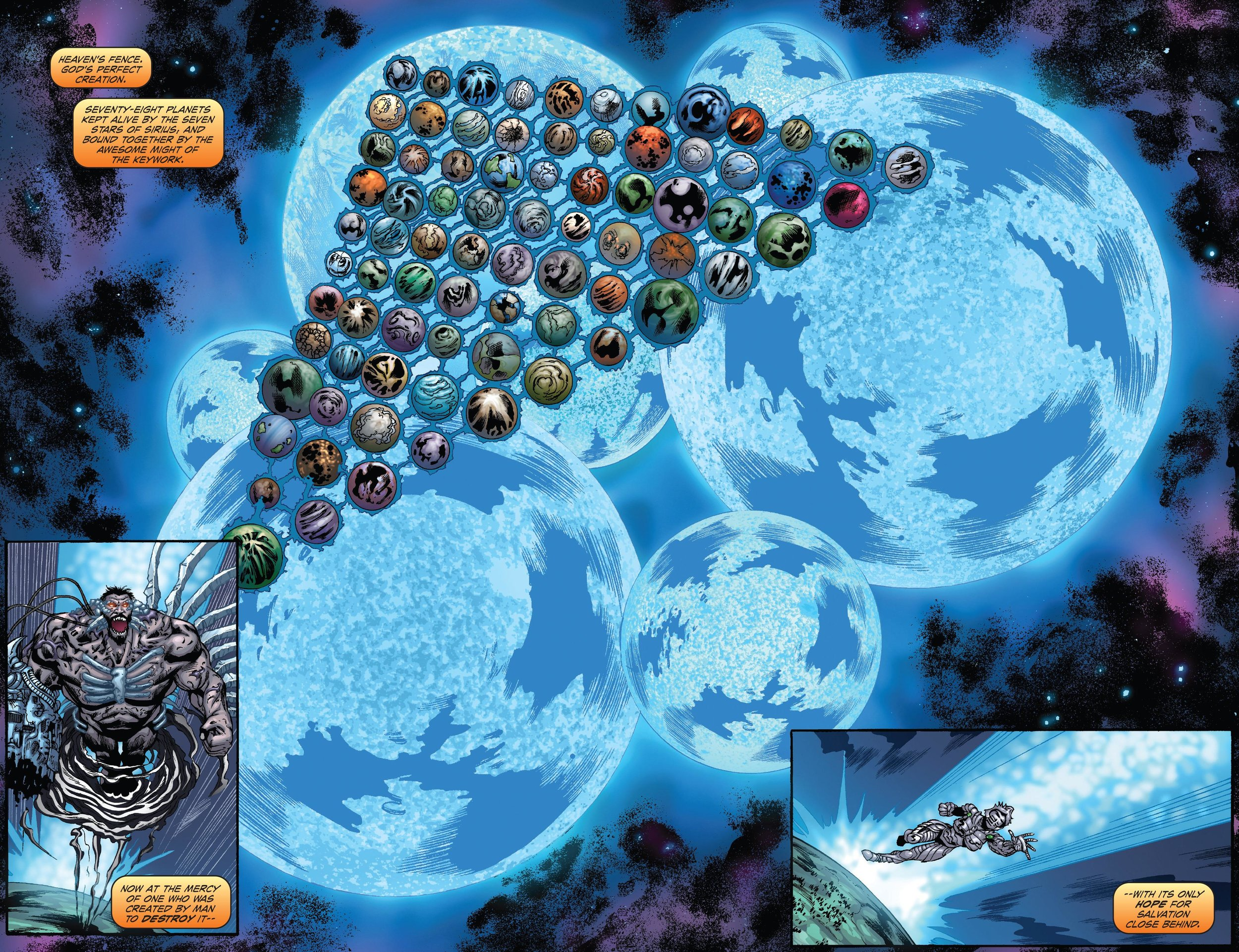 We get this Double Page Spread as they both shoot the hell off  into space .