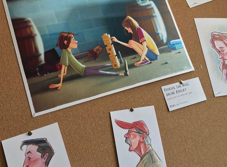 Drawings of kids playing Jenga and Portraits of Frogtown Brewery customers by Patrick Moss
