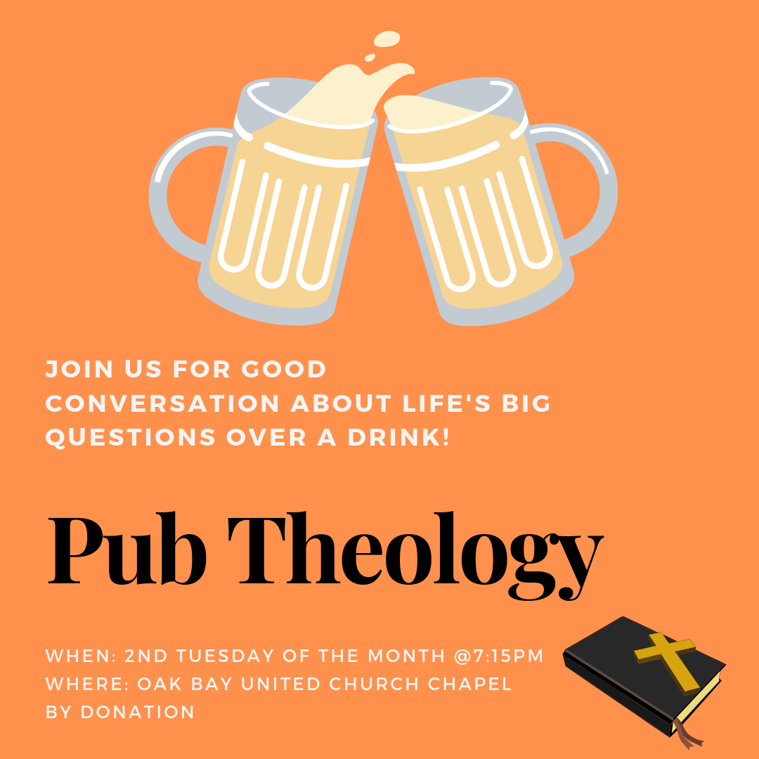"""Pub Theology: Beer, Conversation, and God  1st Tuesday of the month, 7:15pm September - June Come with your own questions, stories, and wonderings, to listen and share with open minds and open hearts. No """"right answer"""" provided... just good conversation, about things that matter, with good people, over a drink with Rev. Michelle. In the OBUC chapel, off the kitchen."""