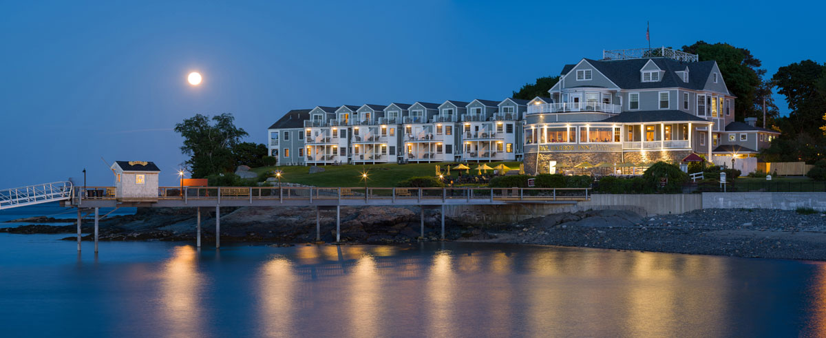 Hotel and moonrise, Bar Harbor, Maine