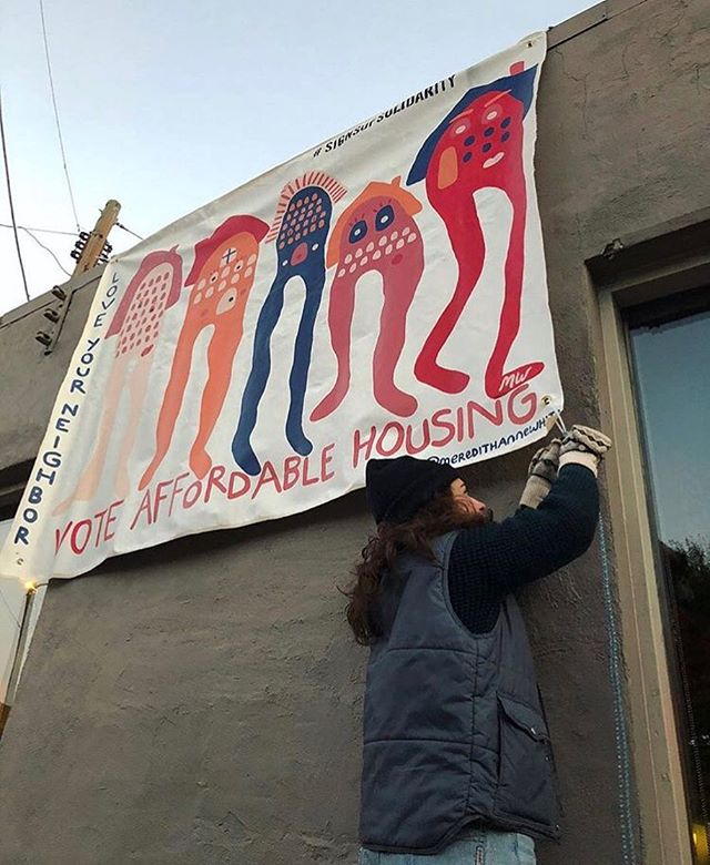 @meredithannewhite's banner for Signs of Solidarity voter edition reminds us to vote for affordable housing! ATL remember to go vote this November 7th! Go check it at @97estoria