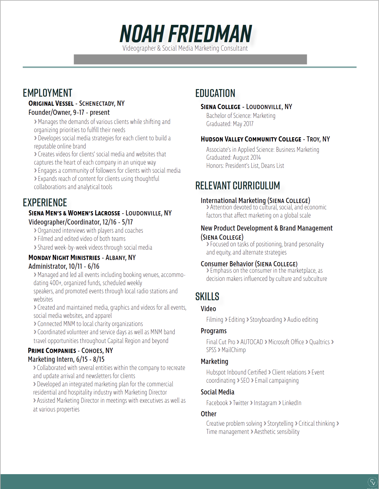 Resume design by Sarah Heikkinen.