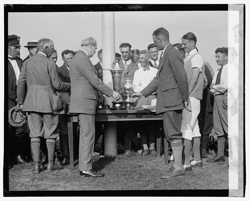 """Photo shows Charles Evans Hughes and J. Stewart Whitham; Richard """"Dick"""" Walsh can be seen on Whitham's right. Taken at the Second Annual American Public Links championship golf tournament held at East Potomac Park, Washington, D.C. (Source: Chicago Tribune, June 30, 1923)"""