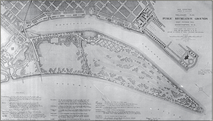 Preliminary Plan for Public Recreation Grounds, East Potomac Park, prepared for the Division of Public Buildings and Grounds of the U.S. Army Corps of Engineers, by James G. Langdon, consulting landscape architect, March 1916. The plan transformed this wedge-shaped area of land, created from dredged material from the river, into a park with various recreational facilities, surrounded by a circuit drive.
