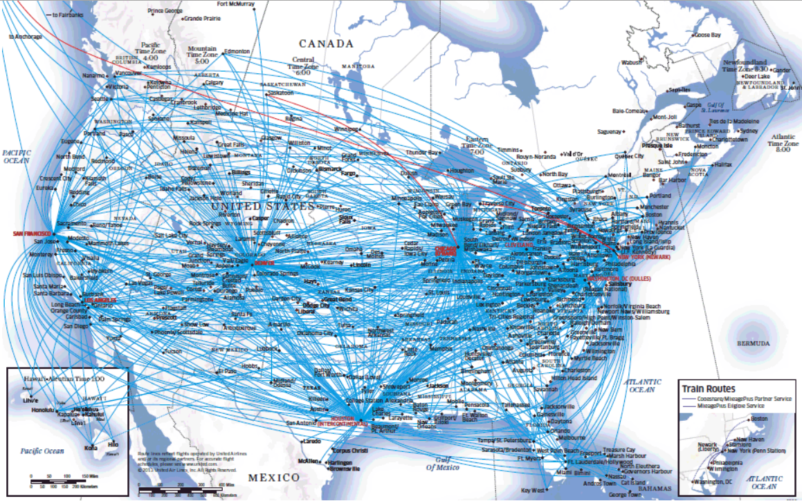 united domestic route map