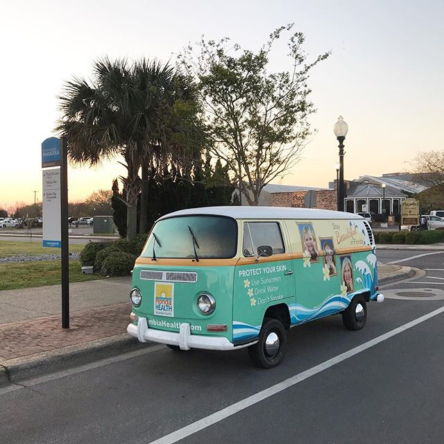 Up and ready for #cycloviapensacola today! Make sure you come by and snap a pic with the @florida.health bus! #downtownpensacola #vwbus #ad #pensacola
