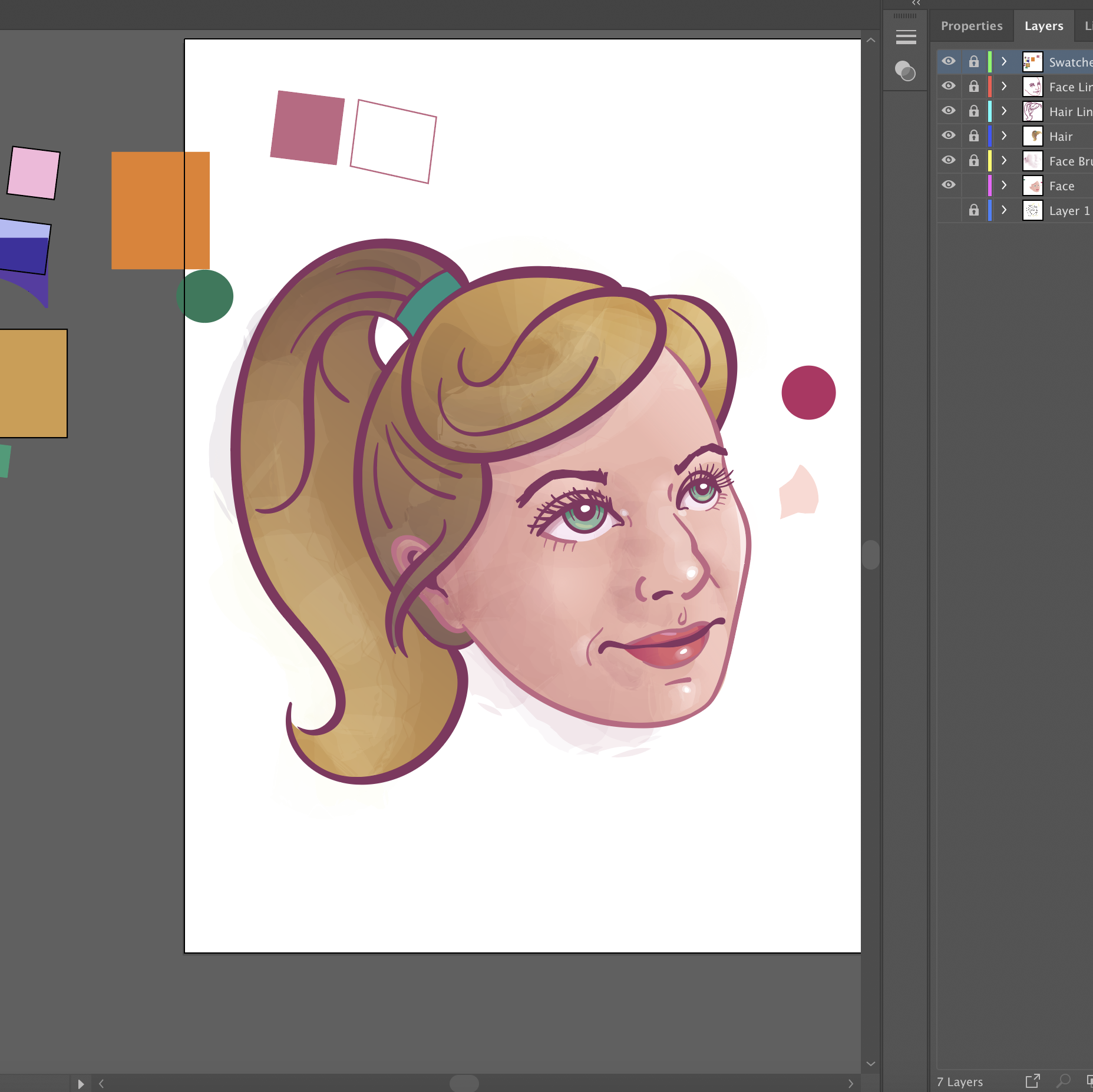 Illustrator File in Process - Here I've begun colorizing and building volume using gradients and watercolor washes. Look at those organized layers!