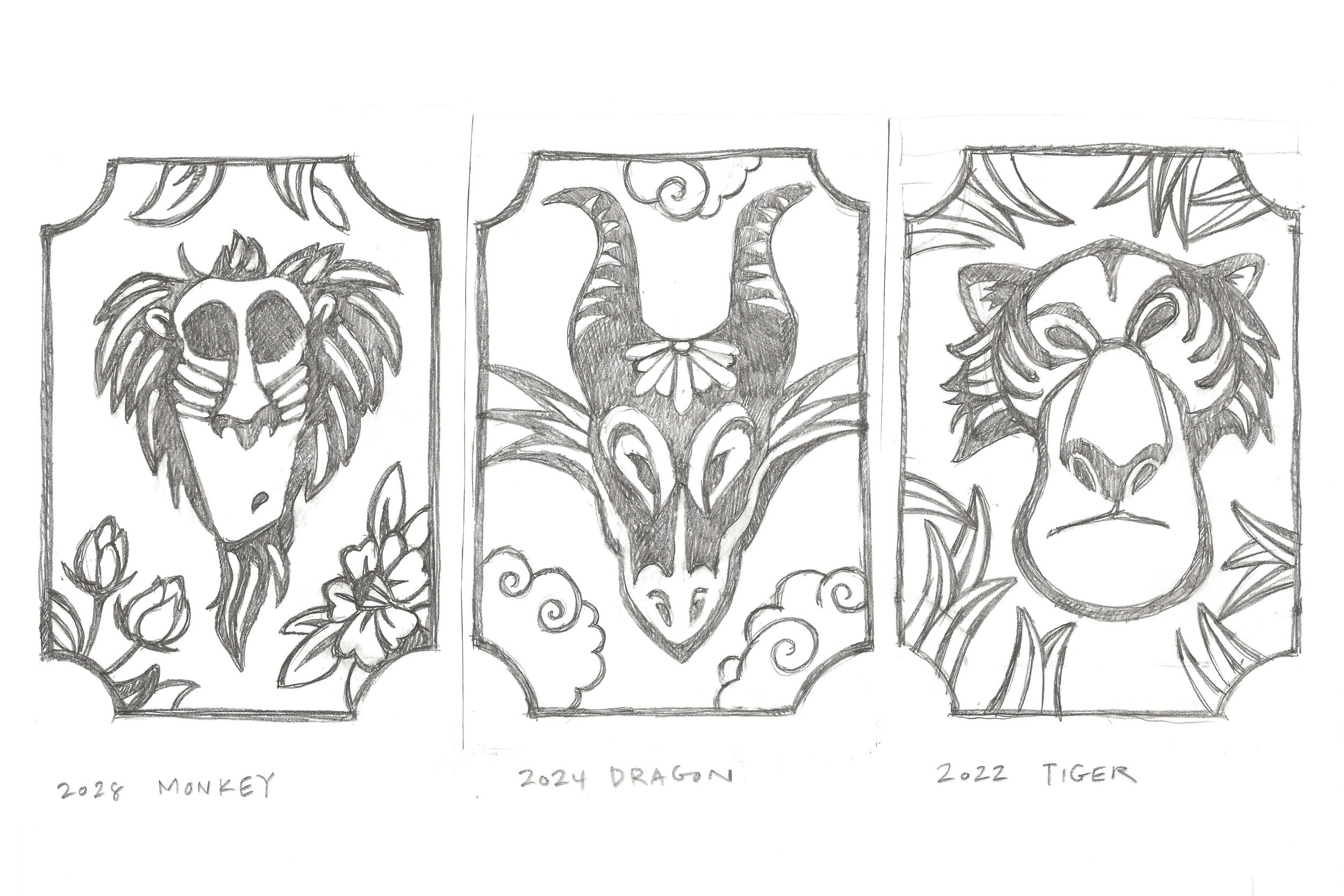 Detailed Pencil Sketches - I did research on single-color Chinese paper cut designs and developed three of the thumbnail sketches into rough designs.