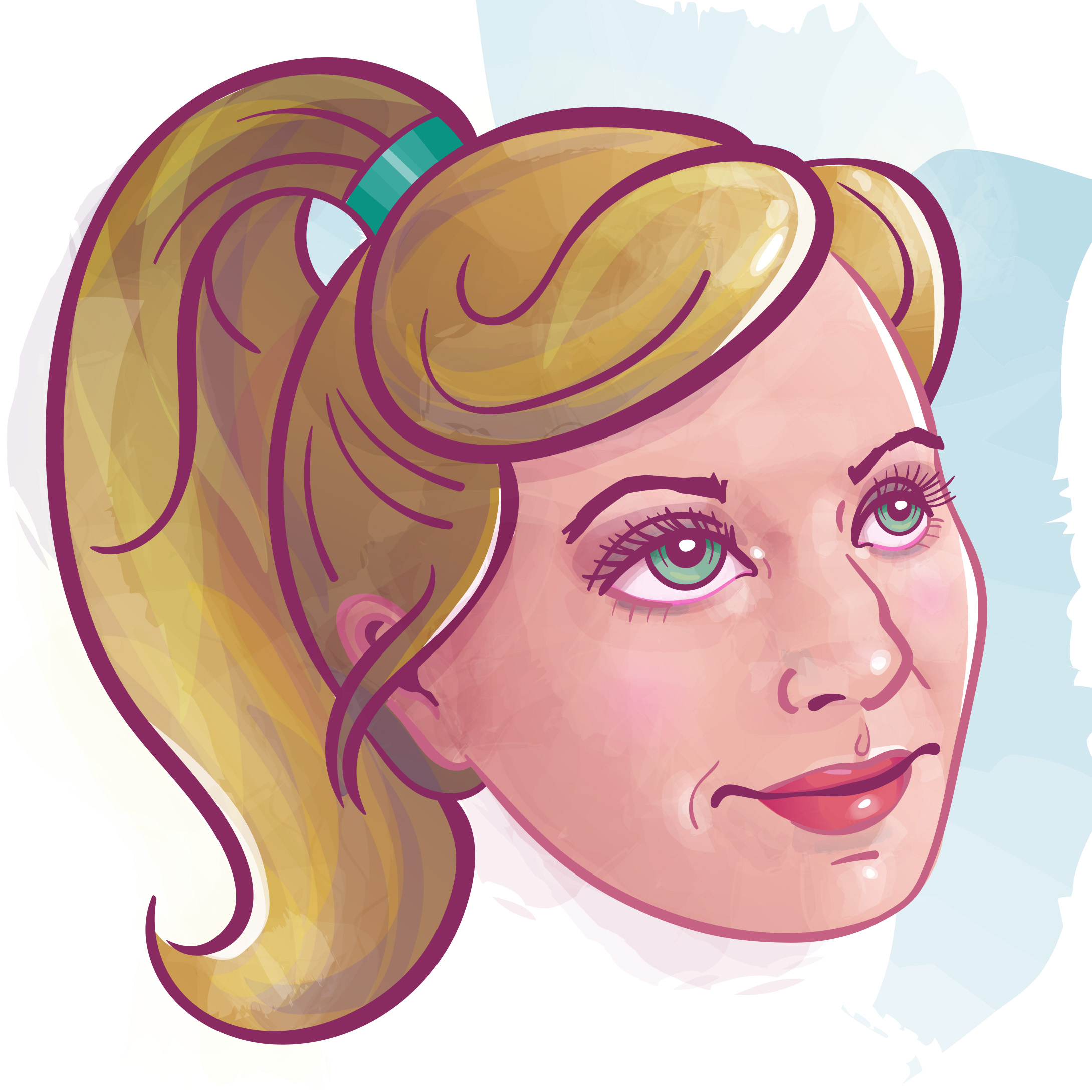 Final Avatar - Here is the final princess version of me! It will be worked into a storybook-style design piece that illustrates my resumé.