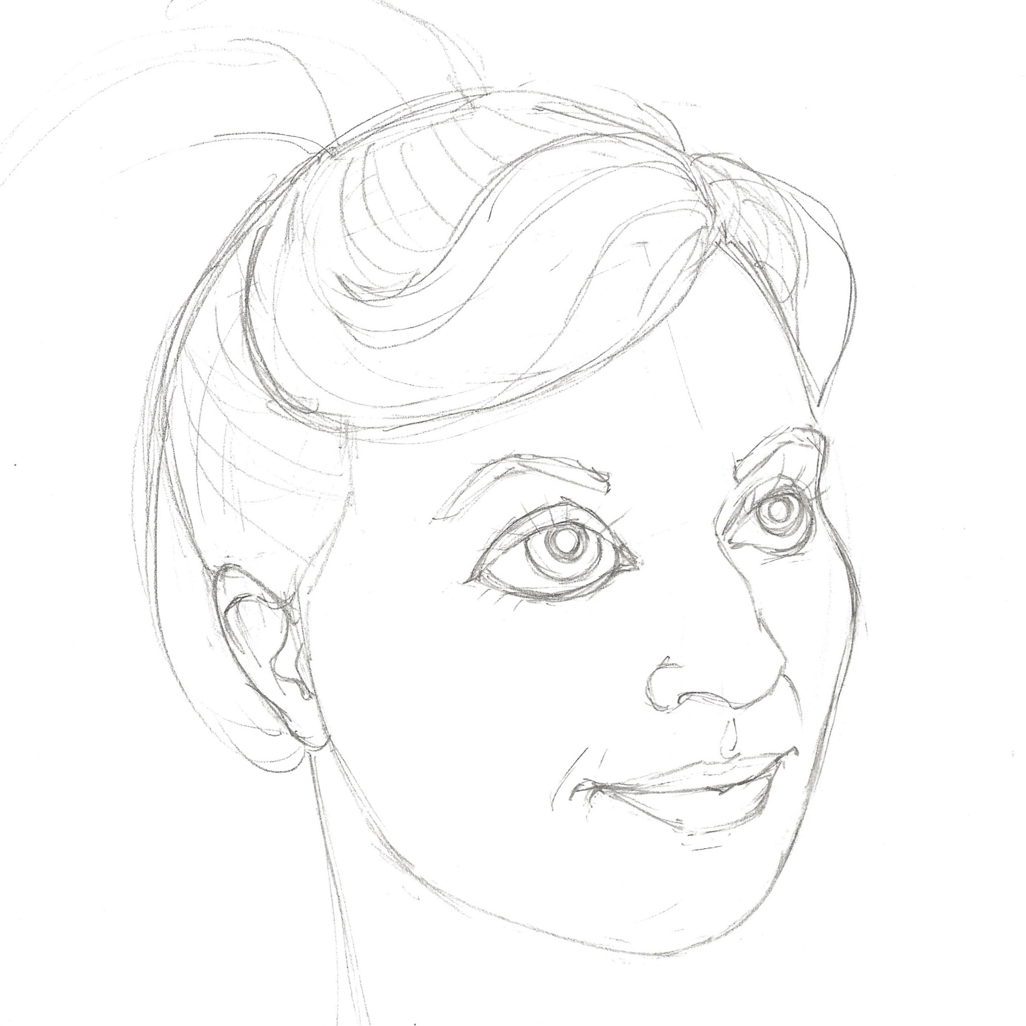 Pencil Drawing - I used the photo as inspiration for the pencil drawing. I took care to incorporate some common characteristics of the animated princesses like enlarged eyes and shortened facial length. I wanted to created an idealized storybook character of myself, but to remain recognizable.