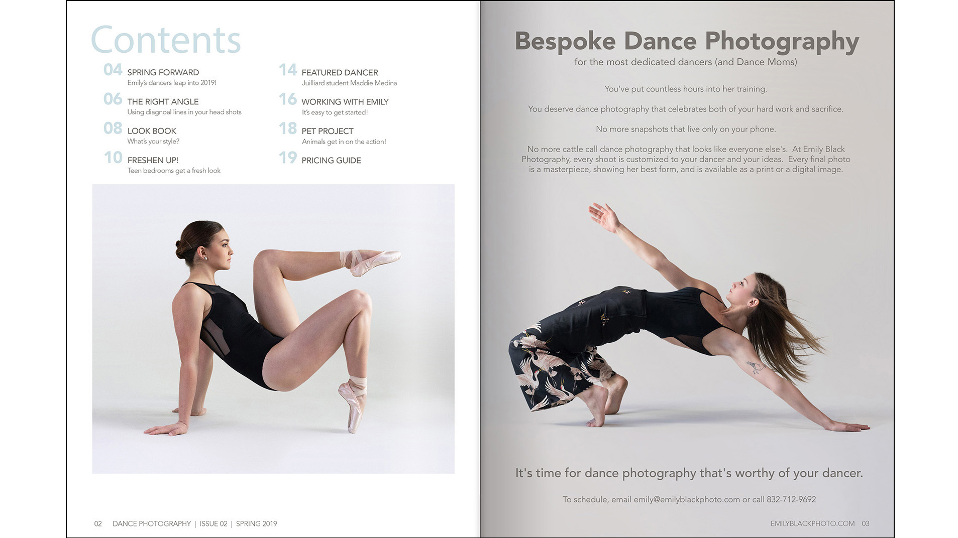Table of Contents - I chose similar images of dancers to create tension and symmetry to open the magazine.