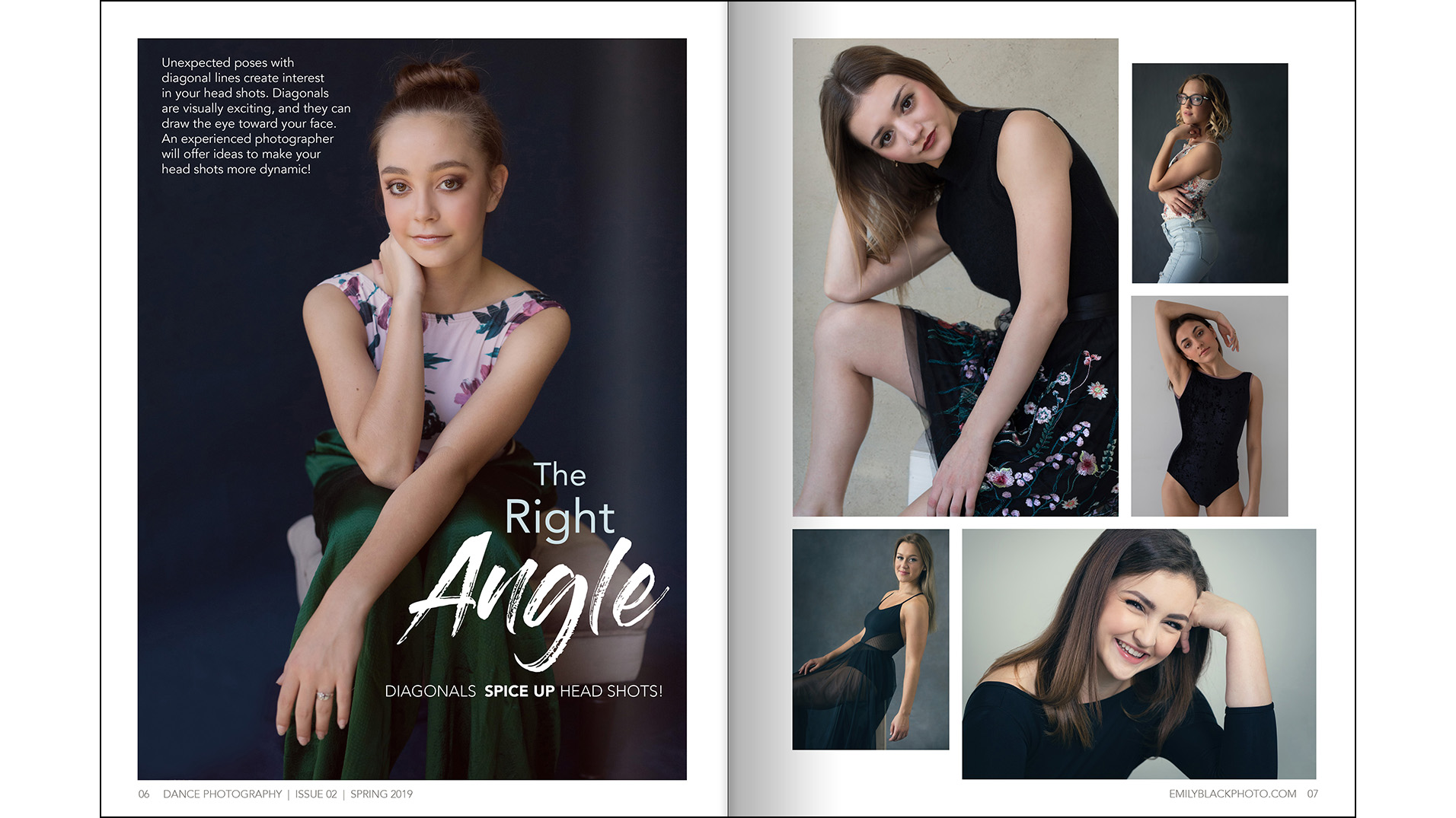 Head Shot Feature - In every issue, I show ways to improve your dancer's head shots. This one was using diagonal lines to create interest.