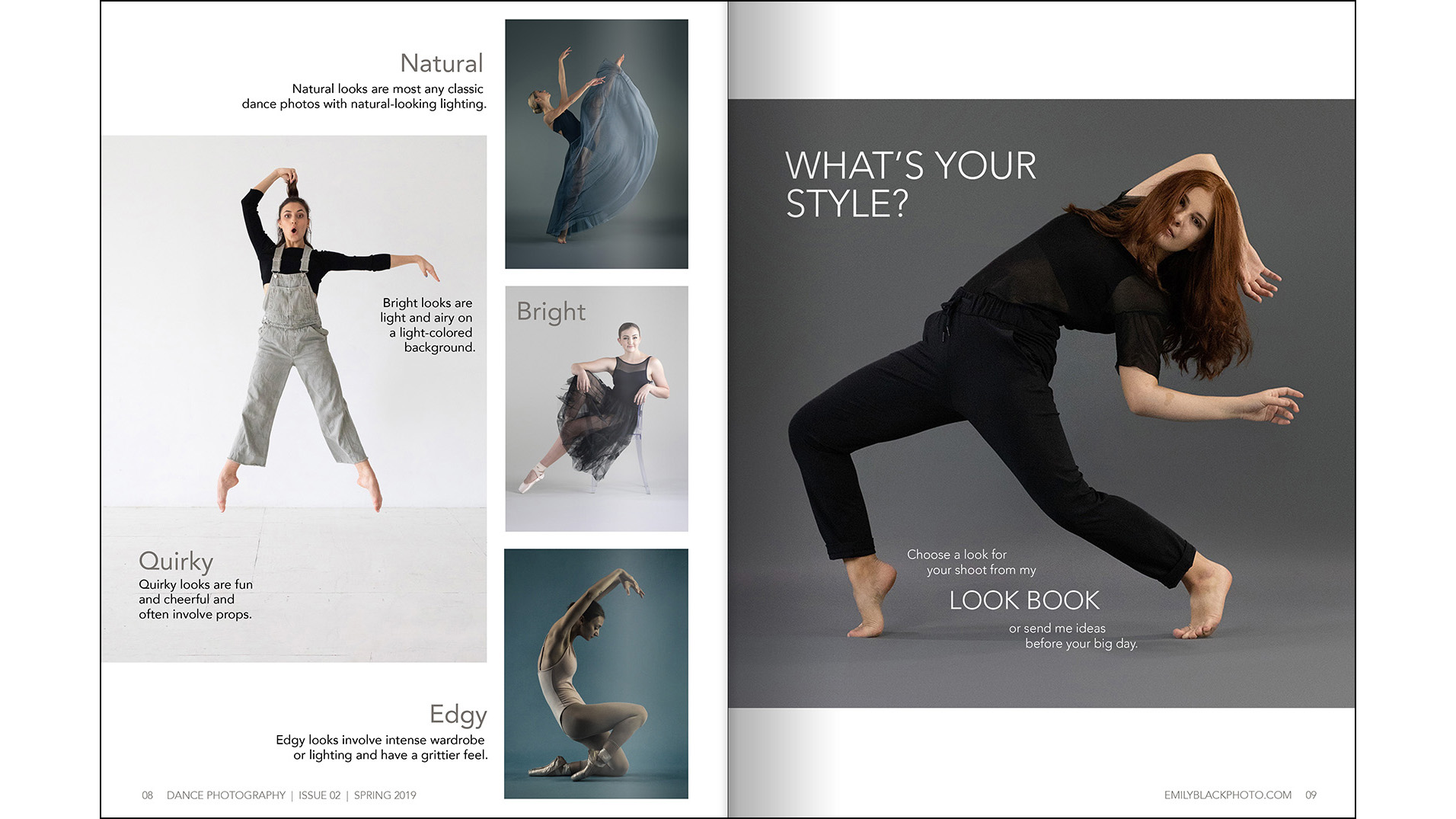 Look Book - I encourage clients to choose a style from my Look Book to streamline the planning process. They can choose Quirky, Natural, Bright, or Edgy to help me decide which backdrops and props I should prepare.