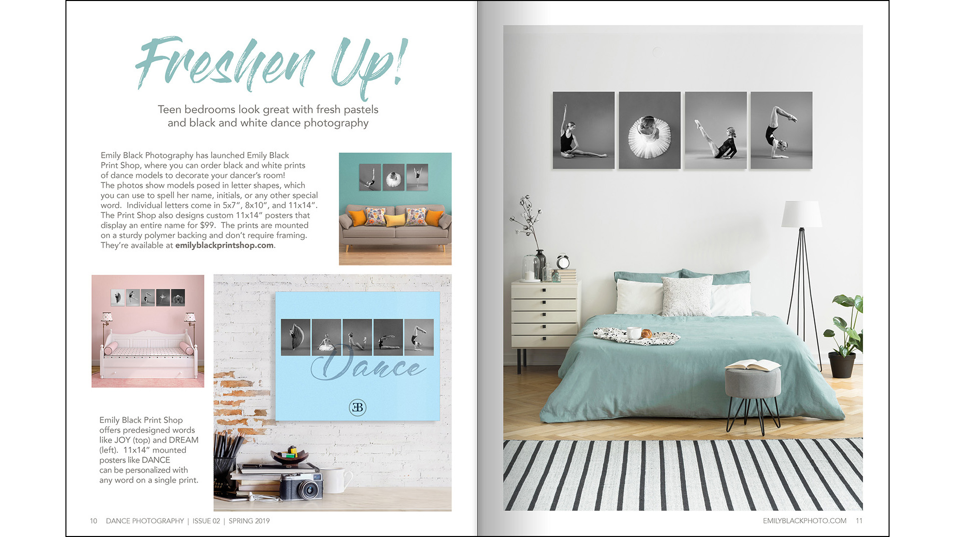 Featured Product - I used a decorating magazine format to highlight my retail line of black and white photographic prints.