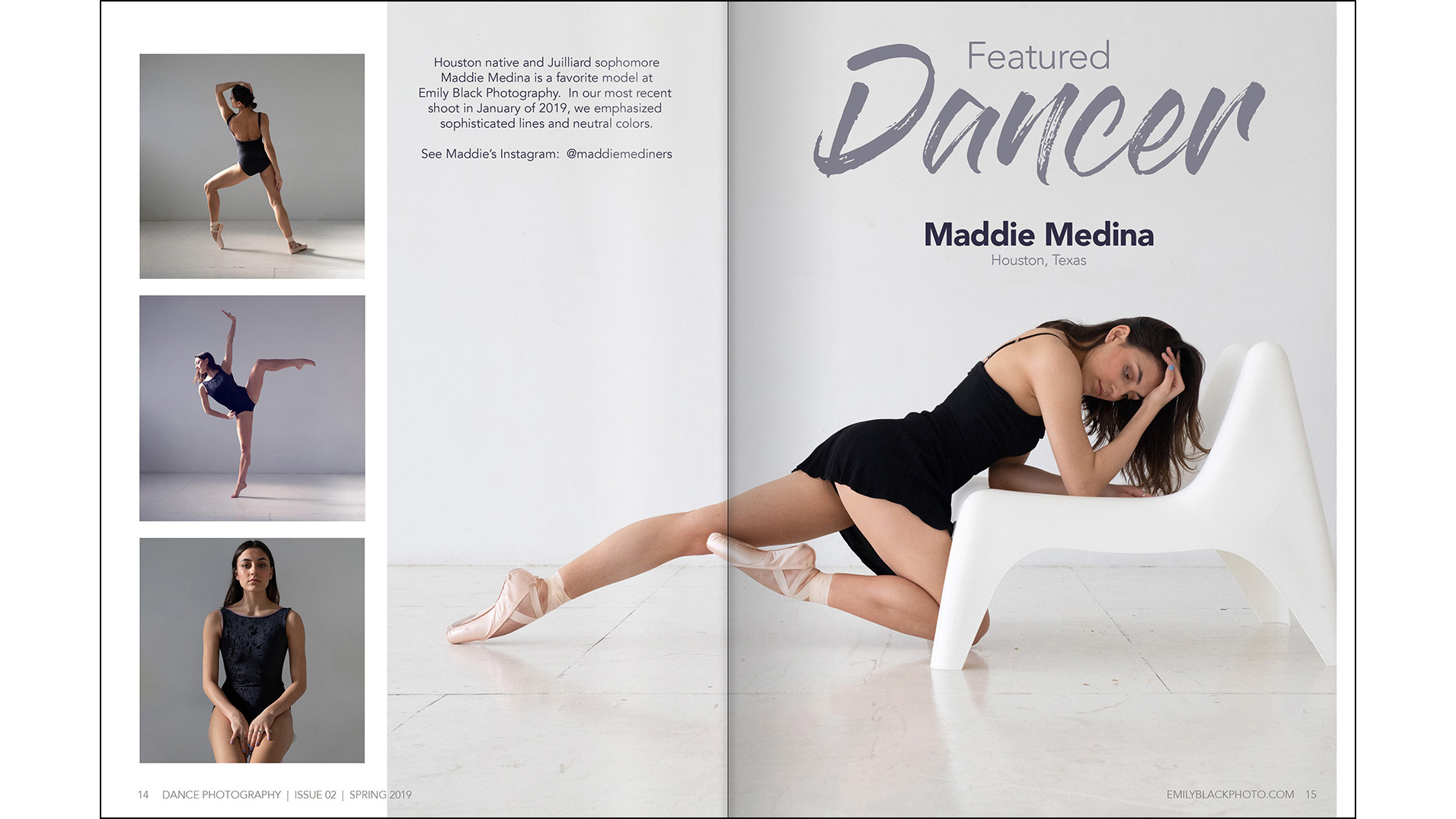 Featured Dancer - I chose to feature a dance shoot done in a white studio to keep with the bright, crisp tones I chose for the spring magazine.