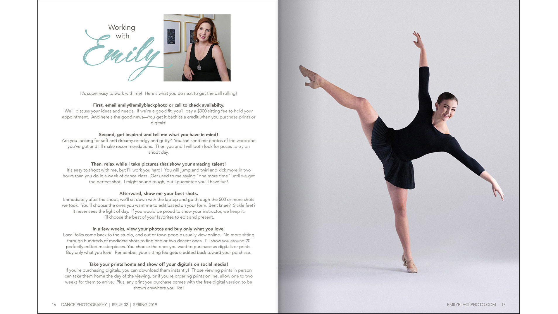"About the Photographer - I chose a full page photo of a happy, enthusiastic dancer across from the ""how to work with me"" section to subtly hint that I'm easy and fun to shoot with."
