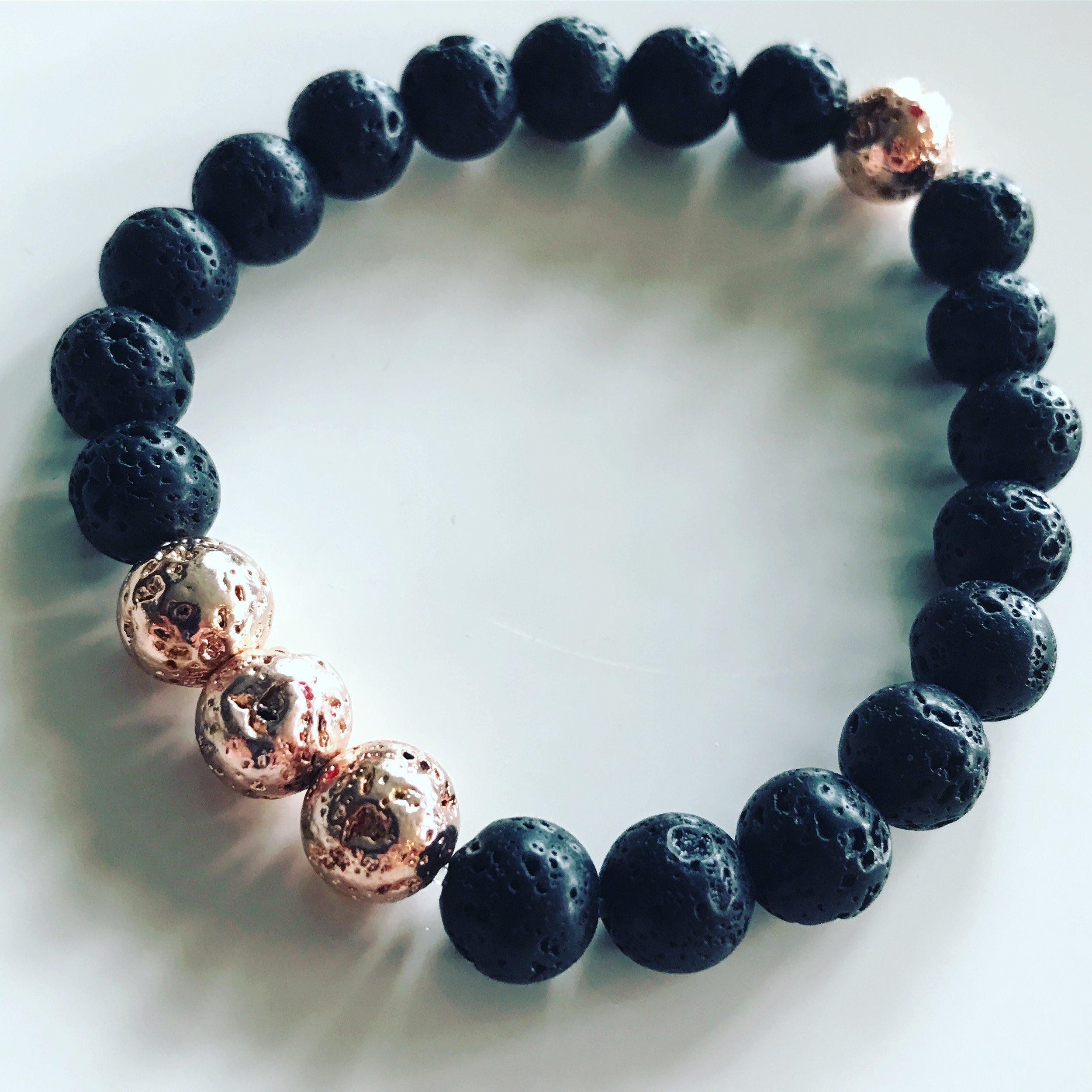 Rose Gold & Lava Grounding Bracelet