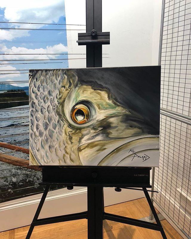 Live painting @orvis Freeport complete!  Was fun!  #alpolandart #oilpainting #fineart #flyfishingart #fishart #stripedbass #night #maine #saltwaterfishing #saltwaterflyfishing #summer #original