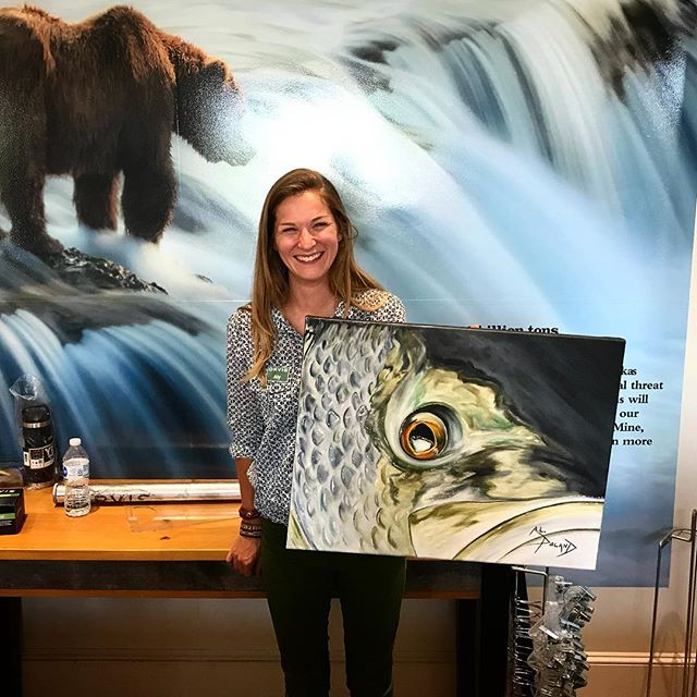 "Couldn't be any happier than to see ""Nighttime Striper"" find a new home with @alybfox after she watched me paint it live at the @orvis she manages!  Cool story and great person!  #alpolandart #orvis #fineart #oilpainting #painting #flyfishing #striper #flyfishingart #flyfishinggirls #fishart #salwaterfishing #maine #live"
