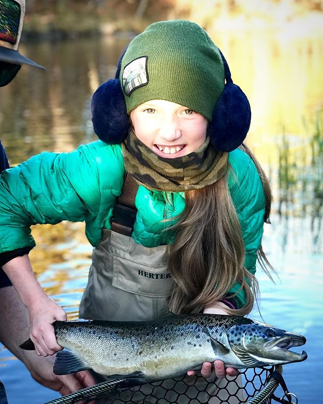When you discover your 10 year old daughter is a fly fishing assassin! #alpolandart #daughter #flyfishing #landlockedsalmon #salmon #maine #fall #fatherdaughter #flyfishinggirls #cold #fishing #troutfishing #fun #smiles