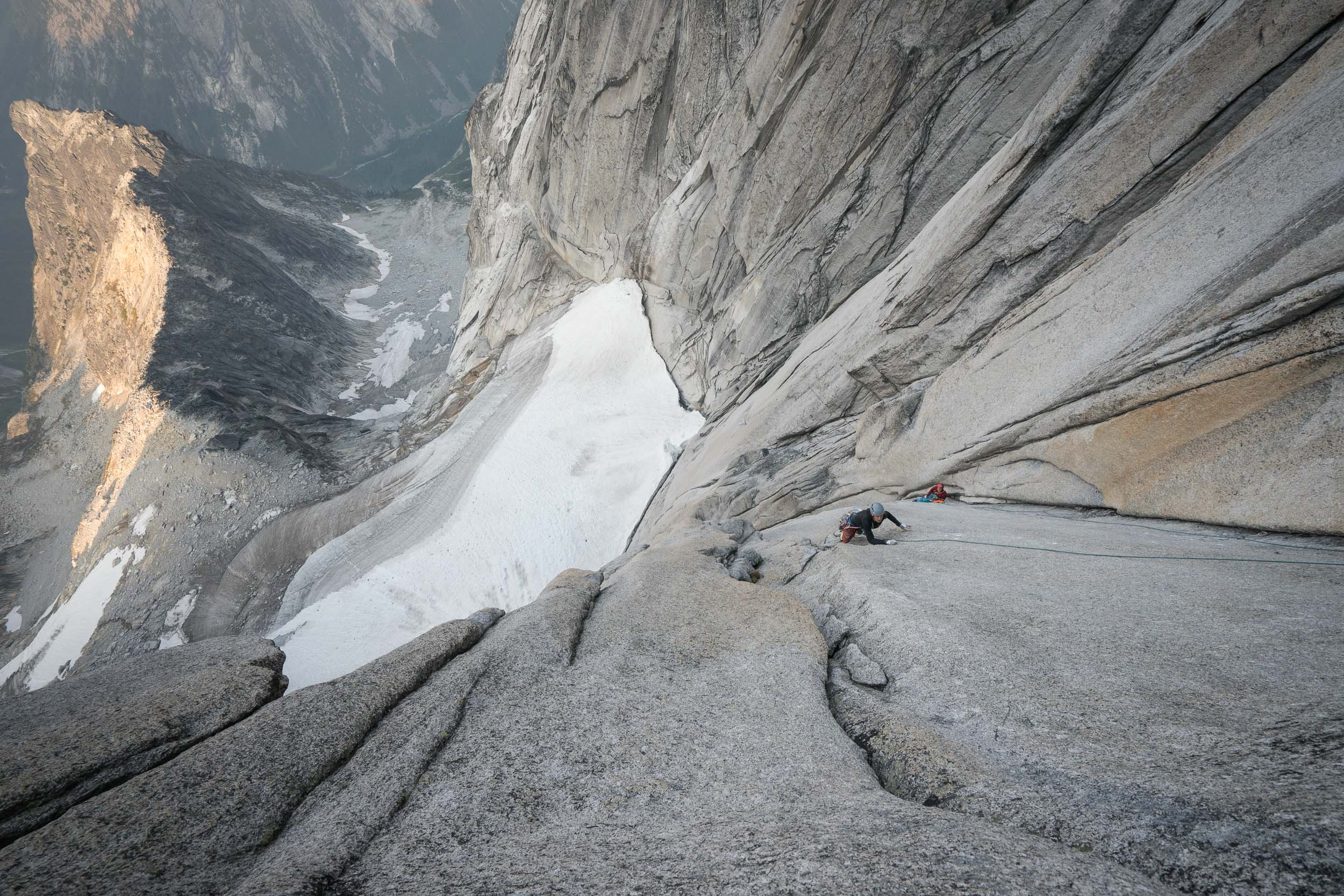 Will Stanhope on the triple link up in the Bugaboos.