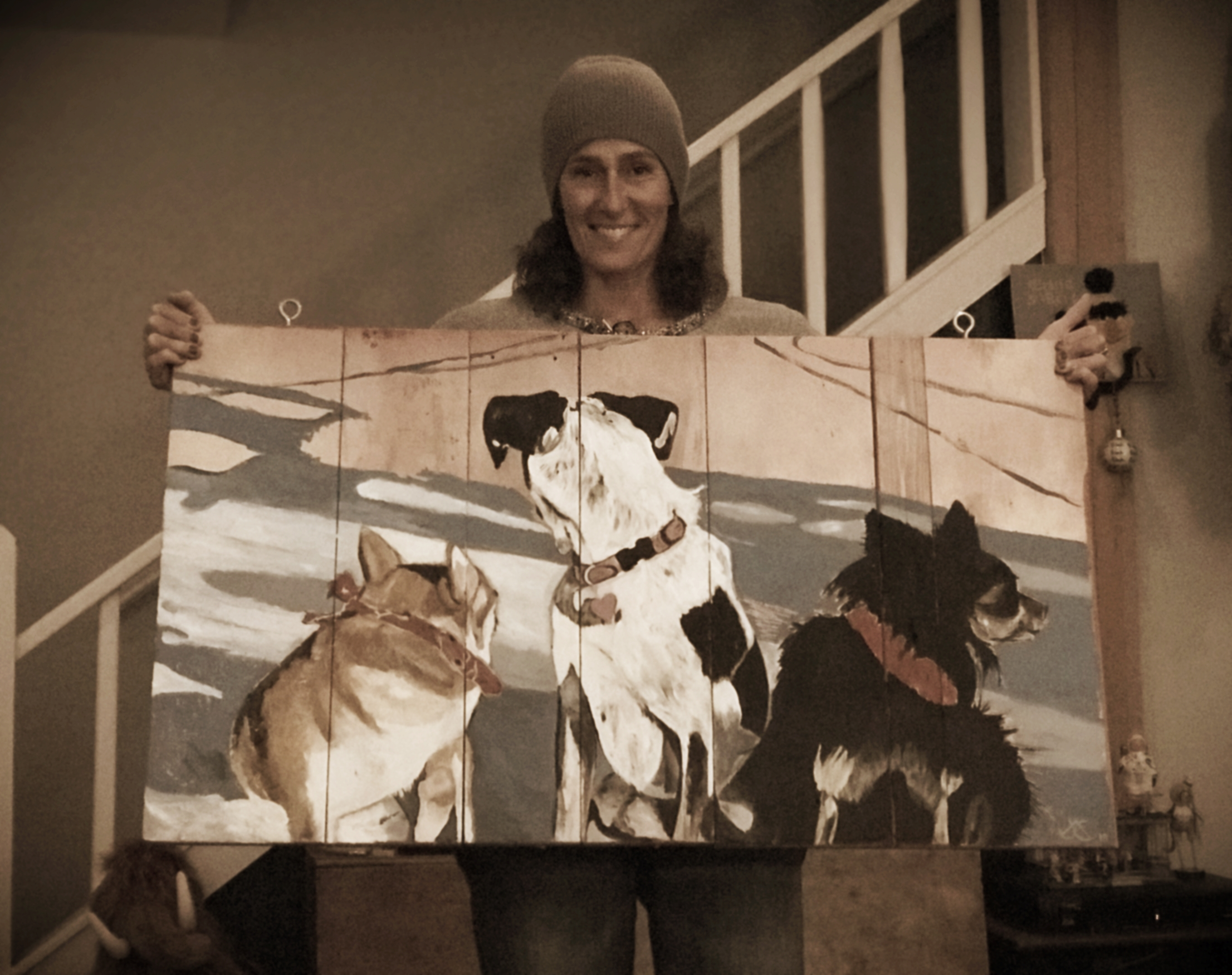 my sister Julie with her masterpiece for MOYO xo