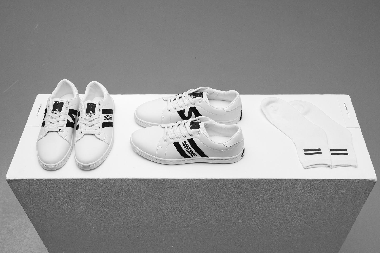 From left:   Virtue x The Establishment Has Fallen   sneaker collection — Meg McLennan; Equality sock design — Jess Kneebone