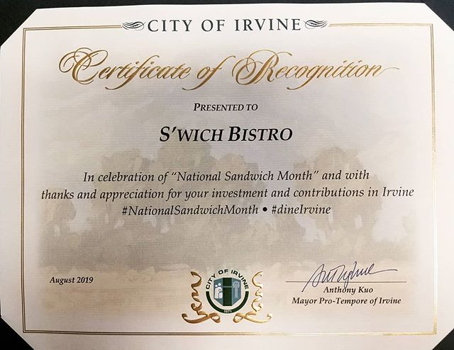 What an incredible honor!! Thank you to @cityofirvine and @anthonykuo for this Certificate of Recognition.  #Speechless Special big thanks and hugs to @natecazier and @bcrazier  #nationalsandwichmonth #dineirvine #irvine #trulyblessed #blizzlife #blizzardentertainment #chefeats