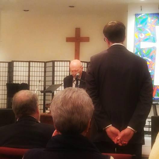 Rev. MacInnes addressing the charge to Rev. Van Eeden Petersman