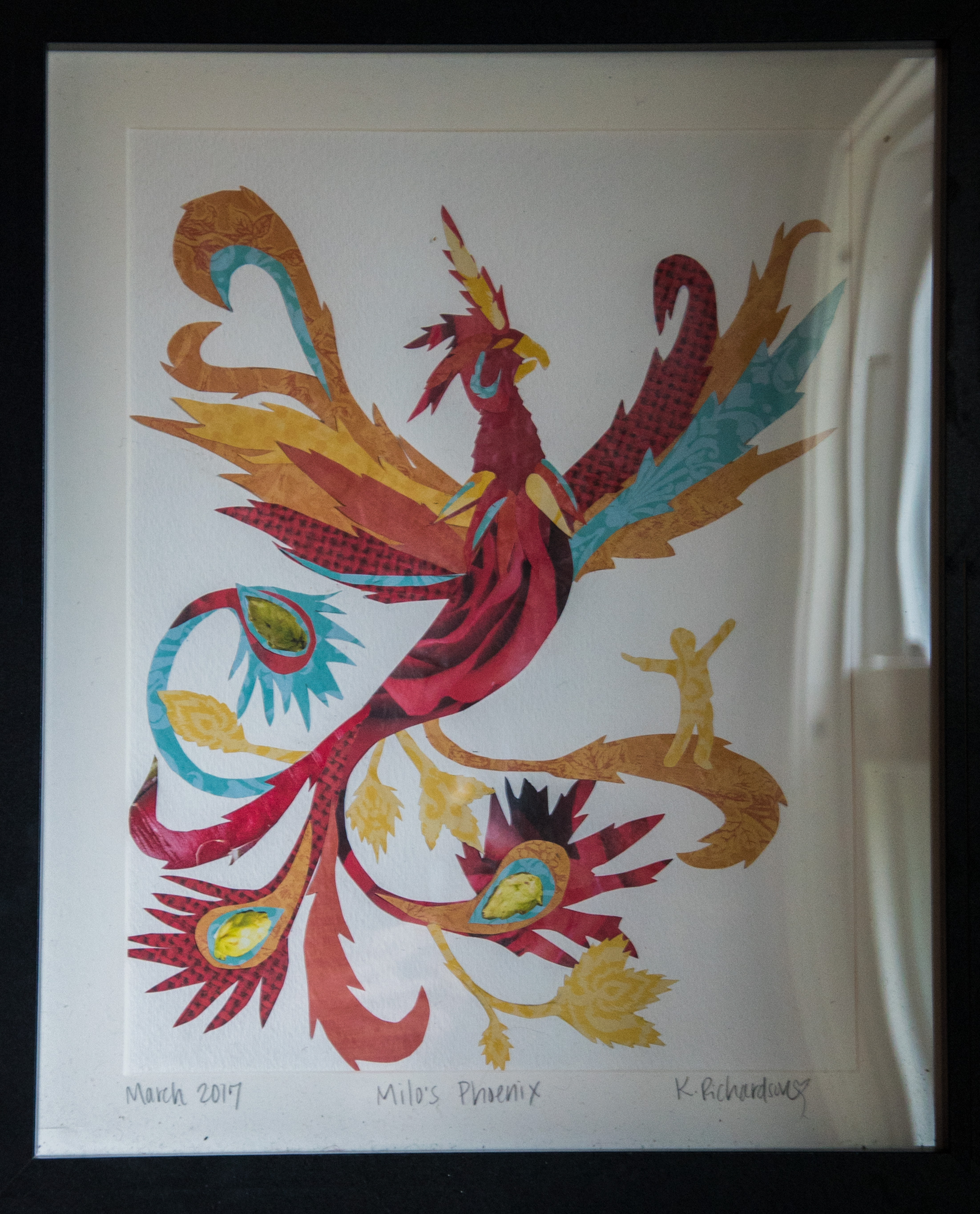 "Original cutout artwork: ""Milo's Phoenix"" by Kara Richardson"
