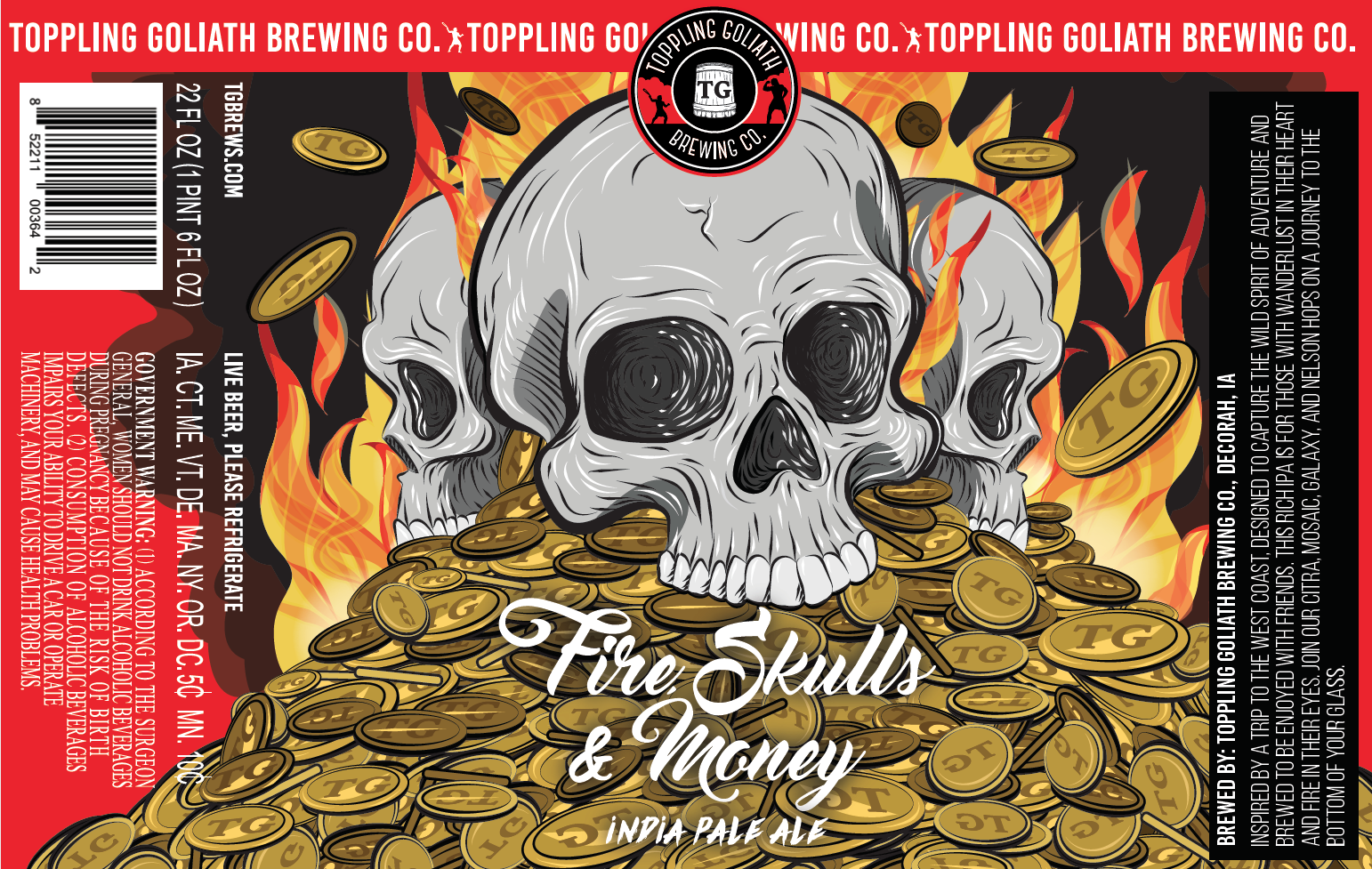 "Final label design, ""Fire Skulls & Money"" by Sarah Hedlund"