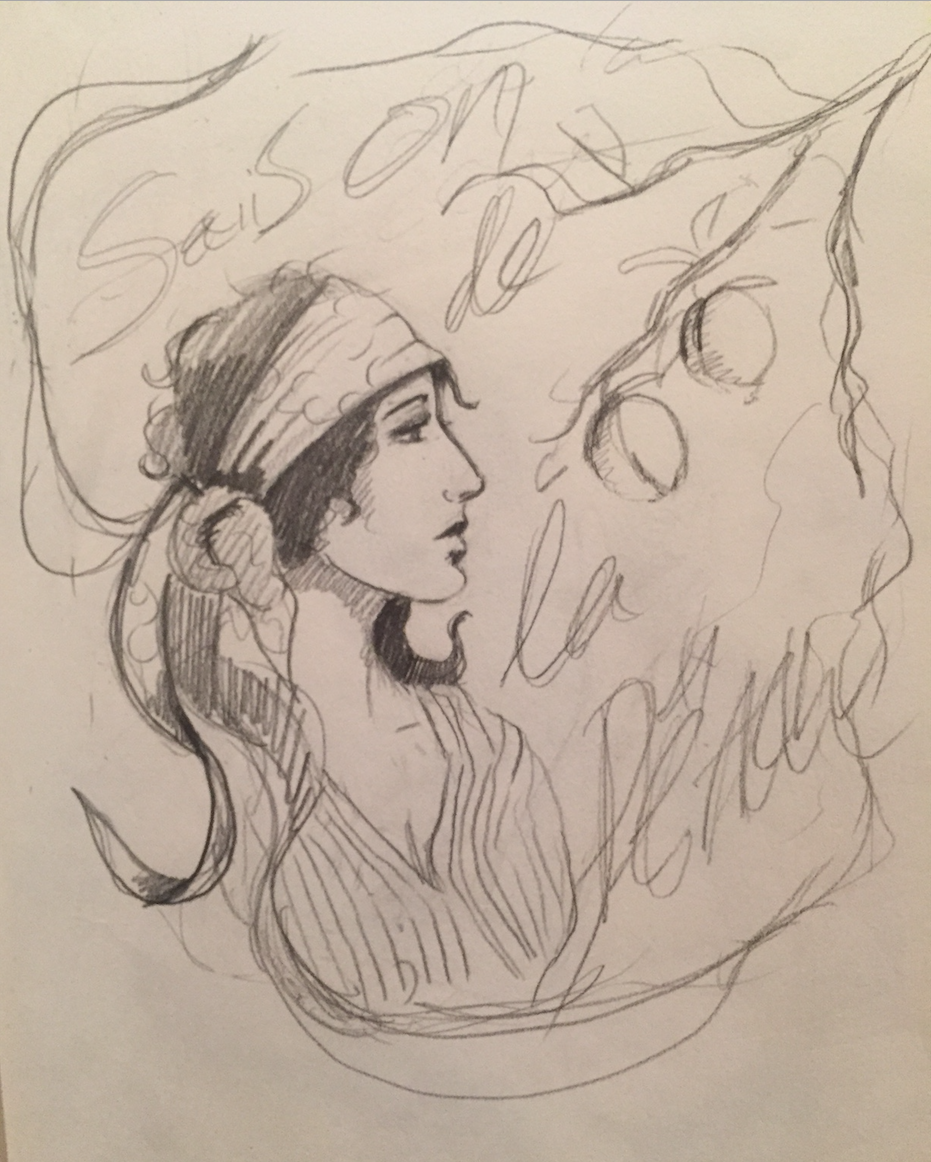 "Early concept sketch, ""Peach Grove Saison"" by Sarah Hedlund"