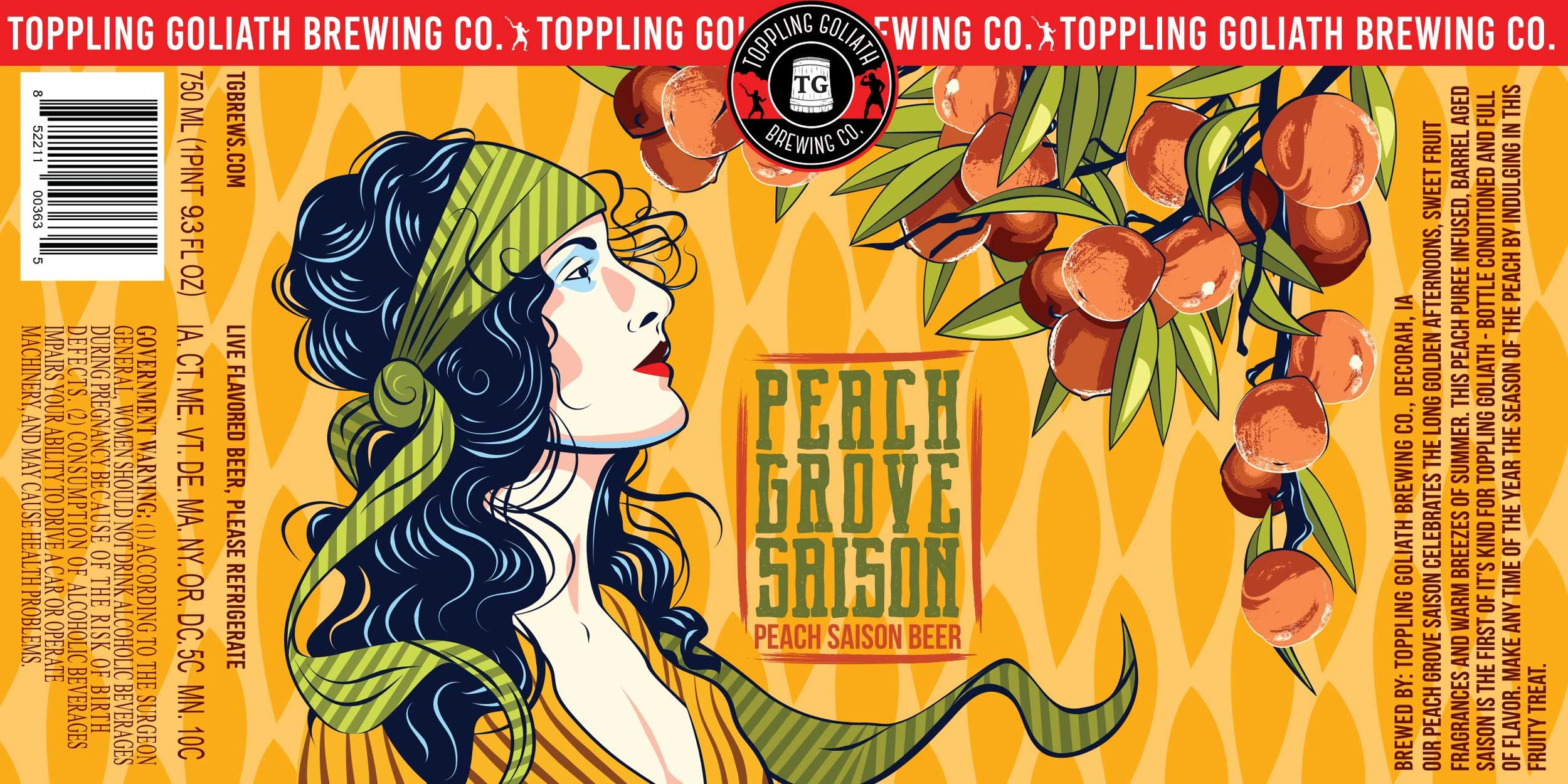 "Final label design, ""Peach Grove Saison"" by Sarah Hedlund"