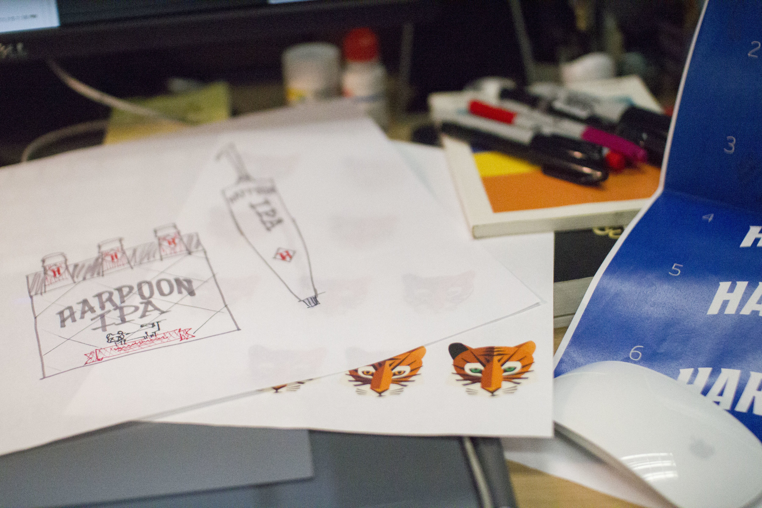 """Harpoon """"IPA"""" tiger icon design and package details. Photo courtesy of Harpoon Brewery."""