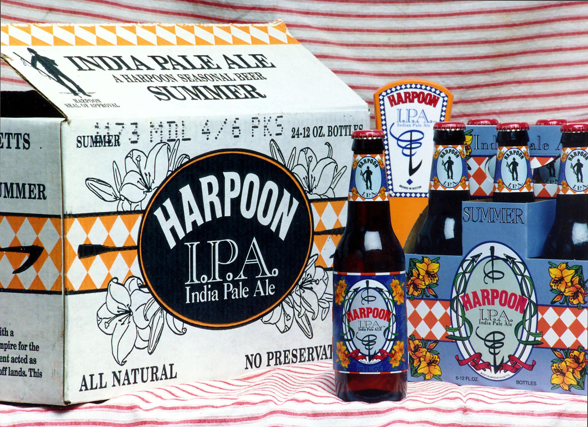 "Harpoon ""IPA"" packaging,1993. Photo courtesy of Harpoon Brewery."