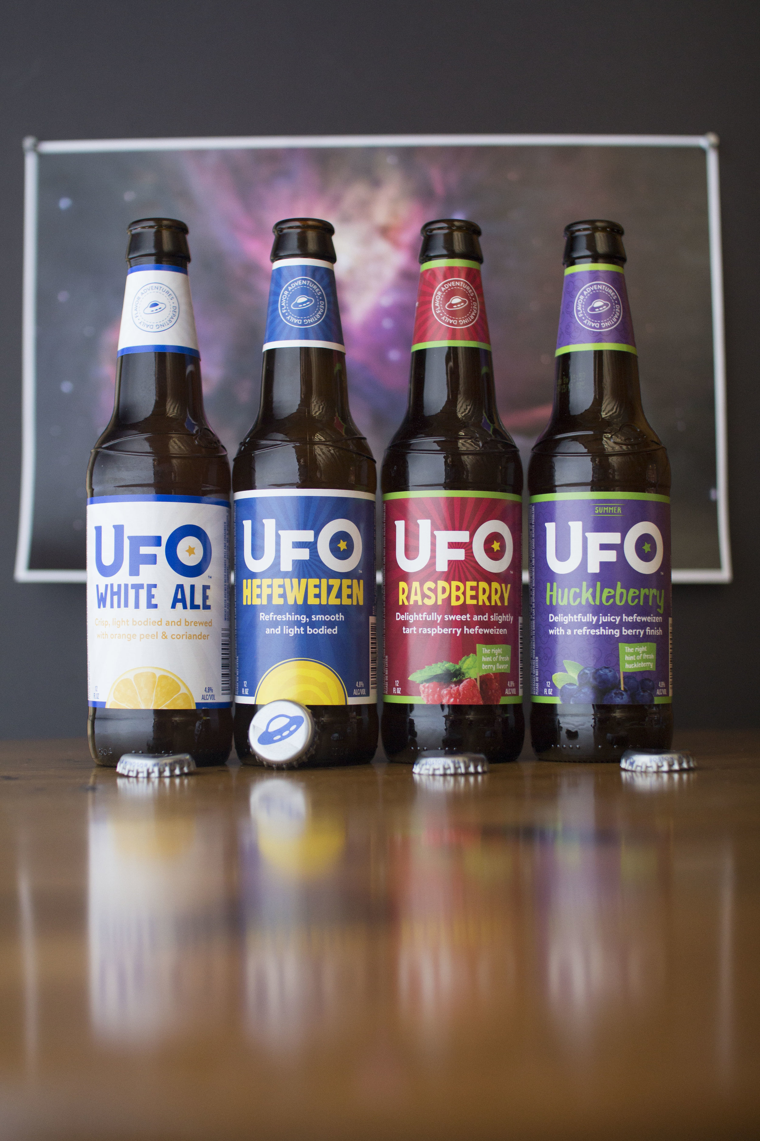 Rebranded bottle packaging, UFO beer, 2017. Photo courtesy of Harpoon Brewery.